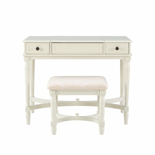 Linon Cyndi Wood Vanity Set in White Perspective: back