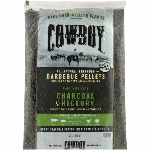 Cowboy Charcoal and Hickory Wood Pellet Fuel 20 lb. - Case Of: 1; Perspective: back