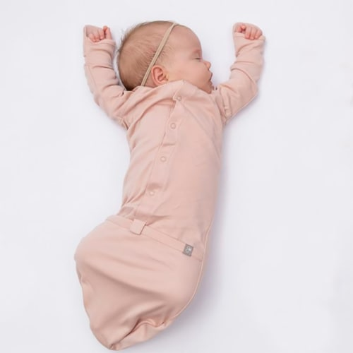 Goumikids Baby Sleeper Gown Organic Bamboo Sleepsack Pajama Clothes, 0-3M Rose Perspective: back