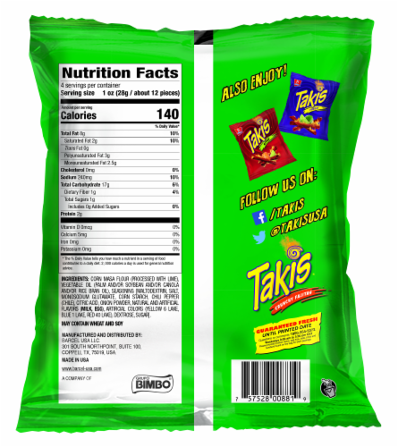 Takis Crunchy Fajitas Tortilla Chips Perspective: back