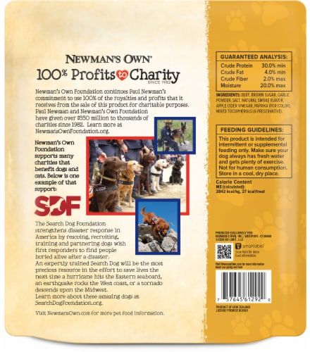 Newman's Own Original Recipe Beef Jerky Dog Treats Perspective: back