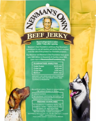 Newman's Own Original Recipe Beef Jerky Dog Treats Perspective: back