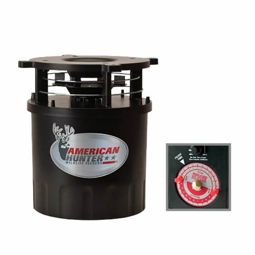 American Hunter R-Pro Wildlife Game Feeder Kit with Analog Timer & Varmint Guard Perspective: back
