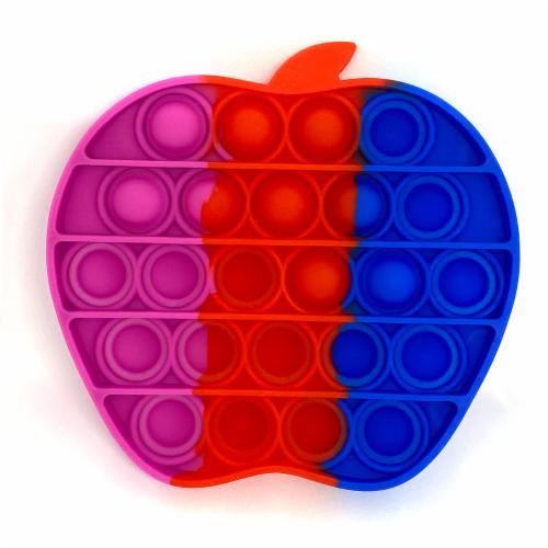 Silicone Bubble Push Pop it Fidget Toy Rainbow Apple (2 chosen randomly) Perspective: back