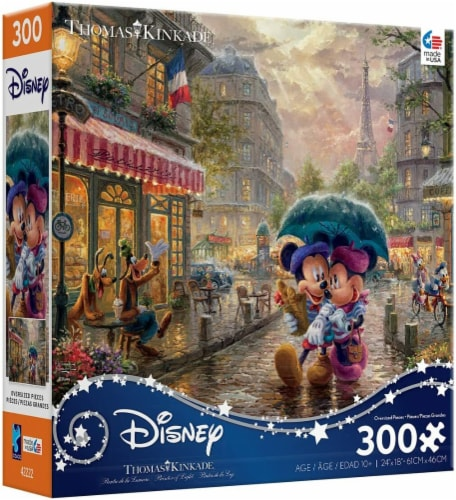 Thomas Kinkade Disney Dreams - Mickey and Minnie in Paris Jigsaw Puzzle, 300 Pieces Perspective: back
