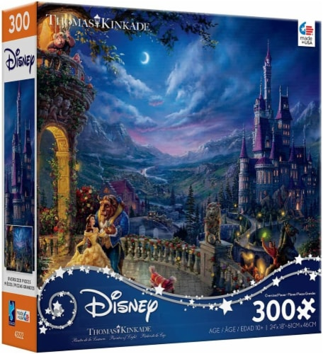 Ceaco Thomas Kinkade Disney Dreams - Beauty and The Beast in The Moonlight Puzzle, 300 Pieces Perspective: back