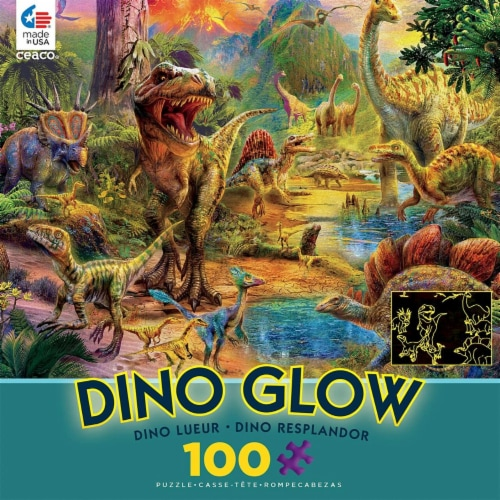 Ceaco Dino Glow in The Dark Dino Landscape Puzzle - 100Piece Perspective: back