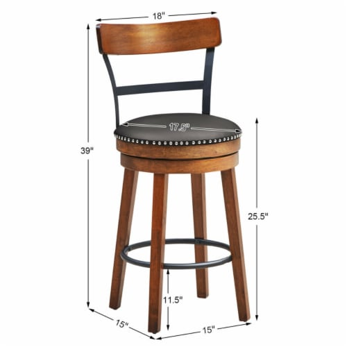 Gymax 25.5'' BarStool Swivel Counter Height kitchen Dining Bar Chair w/Rubber Wood Legs Perspective: back