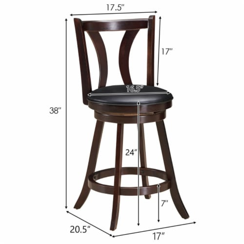Gymax Set of 2 Swivel Bar stool 24'' Counter Height Leather Padded Dining Kitchen Chair Perspective: back