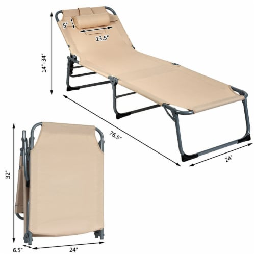Gymax Folding Chaise Lounge Chair Bed Adjustable Outdoor Patio Beach Camping Recliner Beige Perspective: back