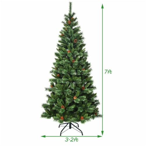 Gymax 7Ft Christmas Tree Artificial Hinged Tree w/ Pine Cones Metal Stand Perspective: back