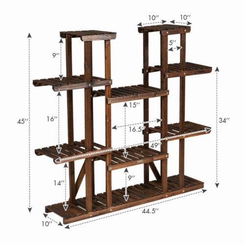Gymax 9 Tier Wood Plant Stand 45'' High Carbonized 17 Potted Flower Shelf Rack Holder Perspective: back