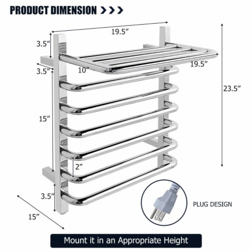 Gymax 10-Bar Wall Mounted Towel Warmer Stainless Steel Plug-in Towel Rack w/ Top Shelf Perspective: back