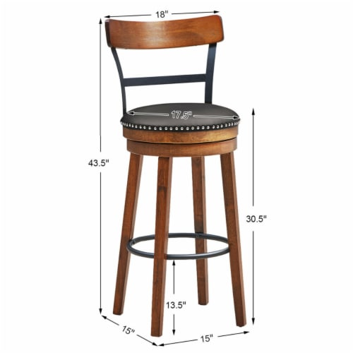 Gymax 30.5'' BarStool Swivel Pub Height kitchen Dining Bar Chair with Rubber Wood Legs Perspective: back