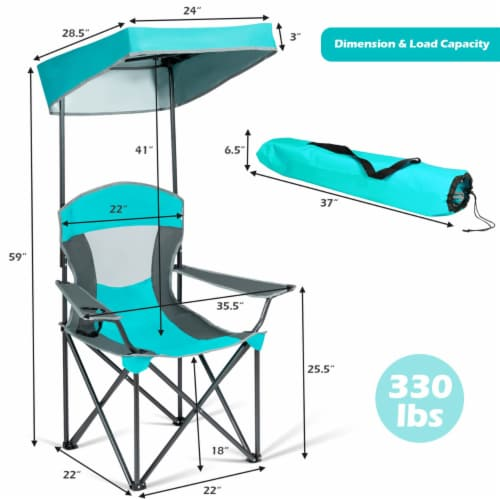 Gymax Folding Sunshade Chair Camping Chair Outdoor w/ Canopy Carrying Bag Turquoise Perspective: back