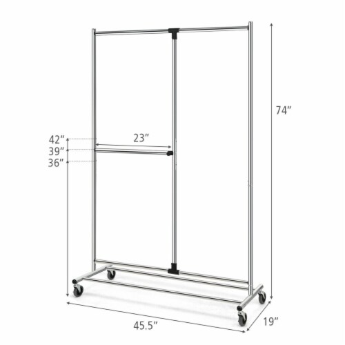 Gymax Heavy Duty Dual Bar Adjustable Garment Rack Rolling Clothes Organizer On Wheels Perspective: back