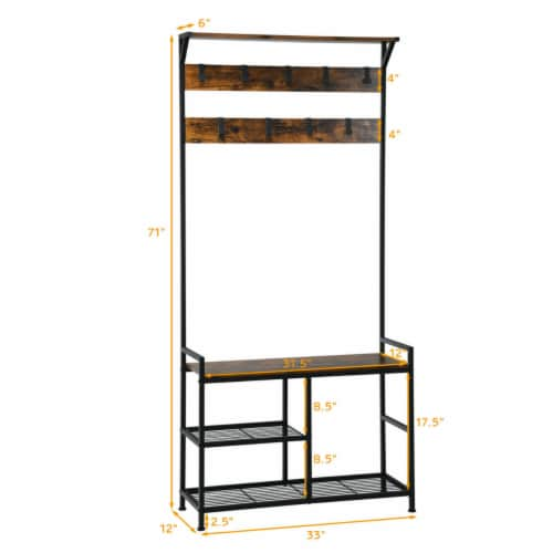 Gymax 3-In-1 Industrial Coat Rack Shoe Bench Entryway Hall Tree w/Storage Shelf & 9 Hook Perspective: back