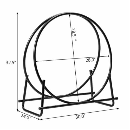 Gymax 30'' Tubular Steel Log Hoop Firewood Storage Rack Holder Round Display Perspective: back