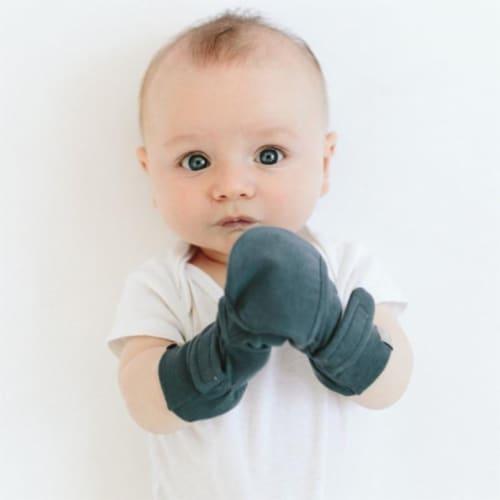 Goumikids Soft Organic Stay On Baby Mitt & Bootie Newborn Bundle, 0-3M Midnight Perspective: back