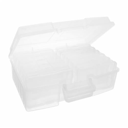"""IRIS USA 215570 Large Plastic Photo/Craft Keeper with 12 4 x 6"""" Cases & Handle Perspective: back"""