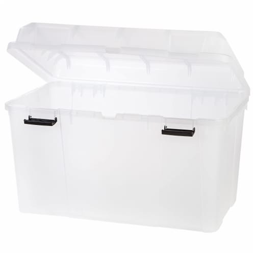IRIS USA 138 Quart Utility Storage Trunk with Secure Hinged Lid, Clear (3 Pack) Perspective: back