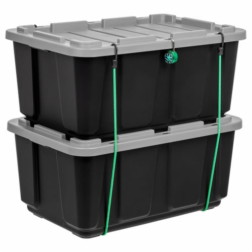 IRIS USA 27 Gallon Stackable Utility Storage Tote with Secure Lid Black (2 Pack) Perspective: back