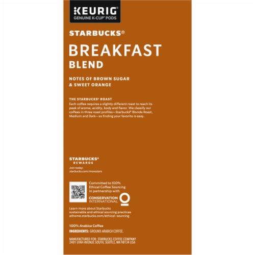 Starbucks Breakfast Blend Medium Roast Ground Coffee K-Cup Pods Perspective: back