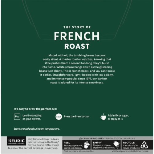 Starbucks French Roast Dark Roast Ground Coffee K-Cup Pods Perspective: back