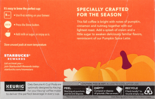 Starbucks® Limited Edition Pumpkin Spice Flavored Coffee K-Cup Pods Perspective: back