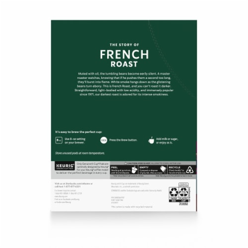 Starbucks® French Roast Dark Roast Ground Coffee K-Cup Pods Perspective: back