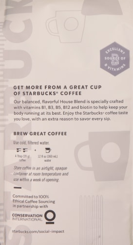 Starbucks Medium Roast Ground Coffee with Essential Vitamins Perspective: back