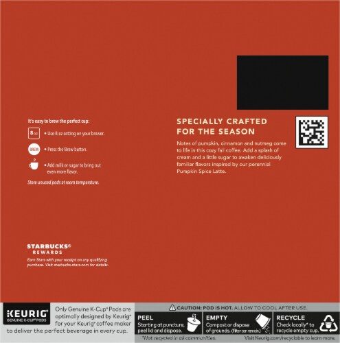 Starbucks® Pumpkin Spice Ground Coffee K-Cup Pods Perspective: back
