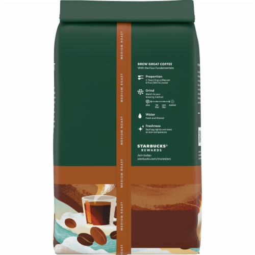 Starbucks Breakfast Blend Medium Roast Whole Bean Coffee Perspective: back
