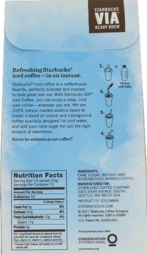 Starbucks VIA Iced Coffee Packs 5 Count Perspective: back