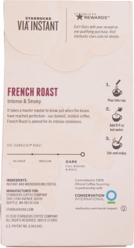 Starbucks Via French Dark Roast Instant Coffee 8 Count Perspective: back