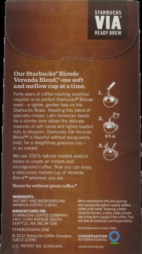 Starbucks Via Veranda Blonde Roast Single-Serve Packets Perspective: back