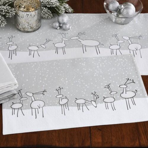 Split P Reindeer Games Placemat Set -White Perspective: back