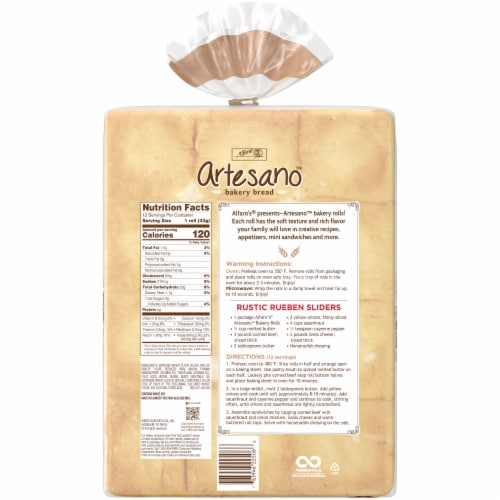 Alfaro's® Artesano™ Bakery Rolls Perspective: back