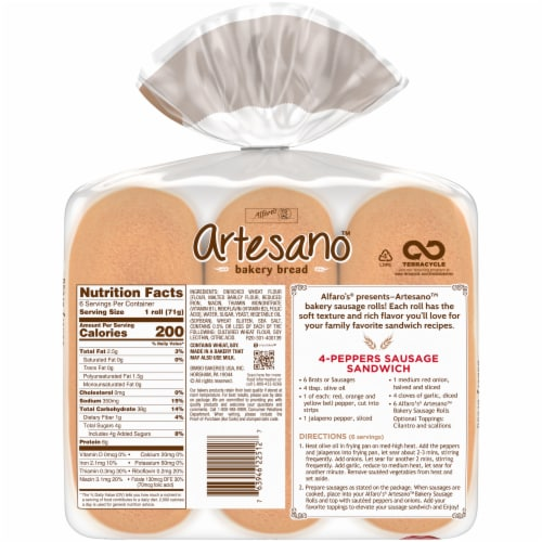 Alfaro's® Artesano™ Bakery Sausage Rolls Perspective: back