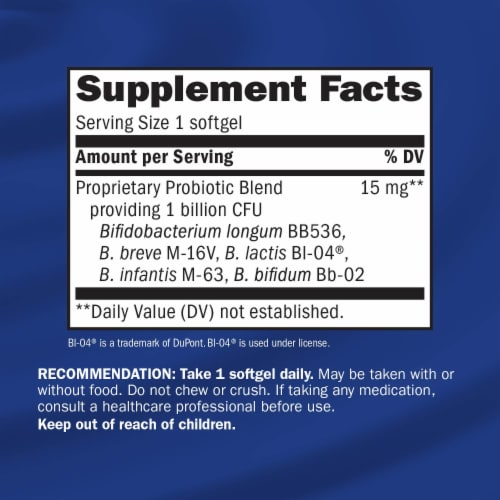 Enzymatic Therapy Probiotic Pearls Adult 50+ Digestive & Colon Support Softgels Perspective: back