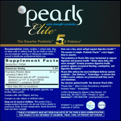 Enzymatic Therapy Probiotic Pearls Elite Dietary Supplement Capsules Perspective: back