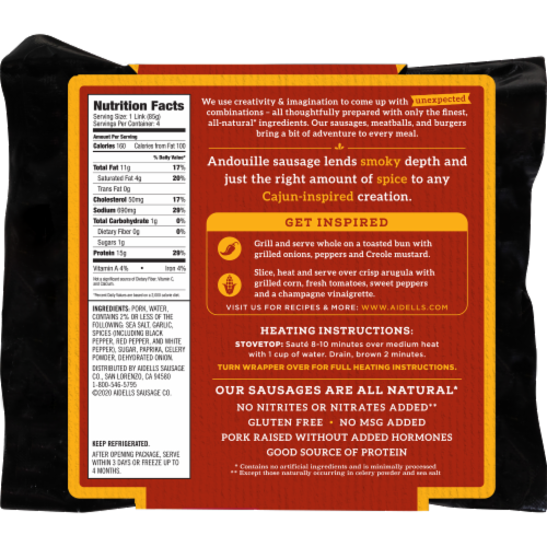 Aidells® Cajun Style Andouille Smoked Pork Sausage Perspective: back