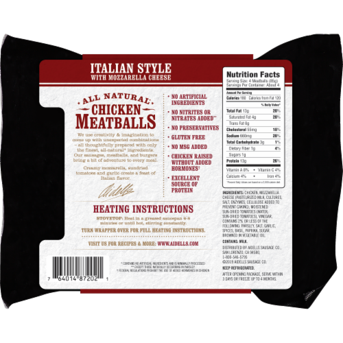 Aidells Italian Style with Mozzarella Cheese All Natural Chicken Meatballs Perspective: back