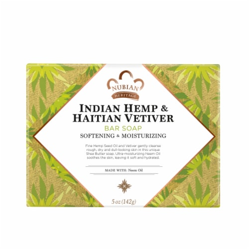 Nubian Heritage Indian Hemp and Haitian Vetiver Bar Soap Perspective: back