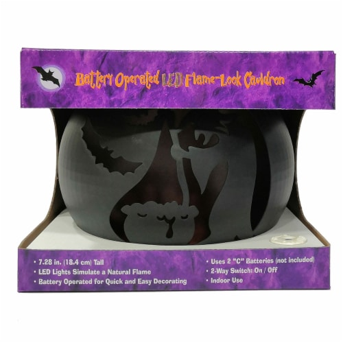 Holiday Home LED Flame-Look Witch Cauldron Perspective: back