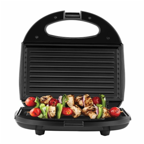 Continental 2-Serve Indoor Contact Grill and Sandwich Maker, Black Perspective: back