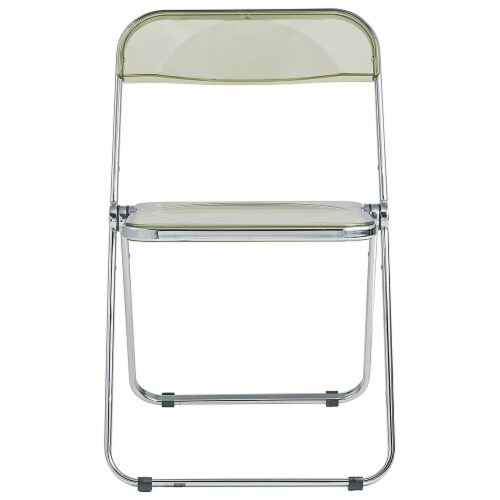 LeisureMod Lawrence Acrylic Portable Folding Chair w/ Sturdy Metal Frame, Amber Perspective: back