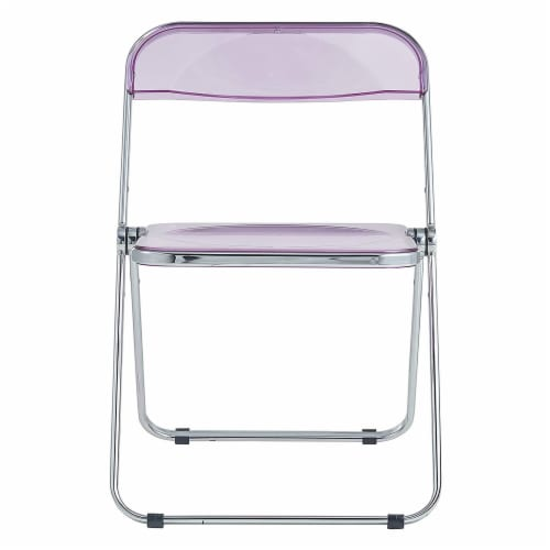 LeisureMod Lawrence Acrylic Portable Folding Chair with Metal Frame, Magenta Perspective: back