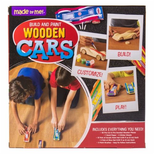 Made By Me Build and Paint Wooden Cars Set Perspective: back