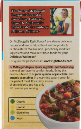 Dr. McDougall's Lower Sodium Organic Quinoa Vegetable Soup Perspective: back